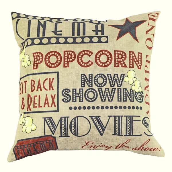Movie and Popcorn 100% Cotton Throw Pillow by Lillowz